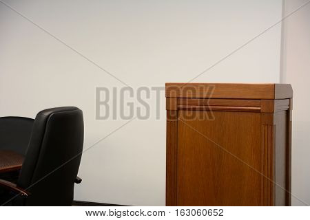 Close-up Of Tribune In Conference Room