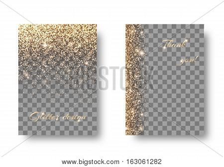 Set of backgrounds with shining golden lights on a transparent backdrop. Festive decoration of New Years Eve