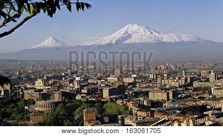 View On Mountain Ararat of Yerevan city,Transcaucasia,Armenia.