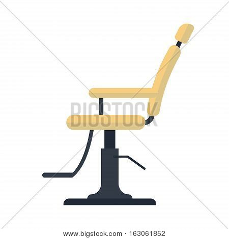Flat barber chair logo icon isolated on white background - vector stock illustration. Ecuipment for barbershop.