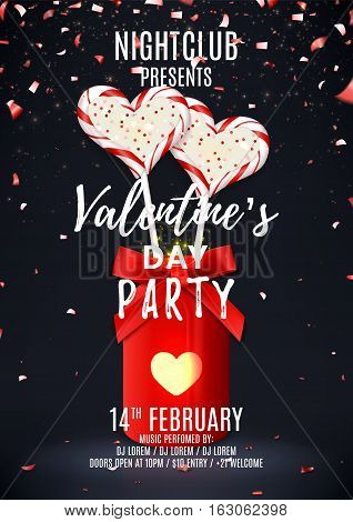 Valentine's Day party poster. Beautiful backdrop with jar and candies in the form of heart. Vector illustration with lights and confetti. Invitation to nightclub.