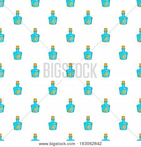 Message in bottle pattern. Cartoon illustration of message in bottle vector pattern for web