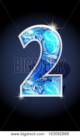 Blue frost winter number two on dark background isolated. Blue frost illustration number 2 for winter 2017 date design. Number 2 icon. Vector illustration stock vector.