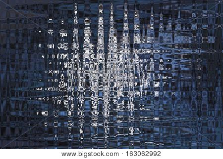 abstract blue and white pattern of irregular sharp waves in dark and light blue tones