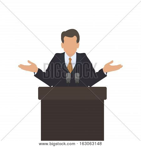 Man speaker at the podium helpless gesture. The gesture of doubt and confusion. Male policies. Vector