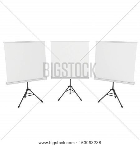 Blank Roll Up Expo Banner Stands Group on Tripod. Trade show booth white and blank. 3d render illustration isolated on white background. Template mockup for your expo design.