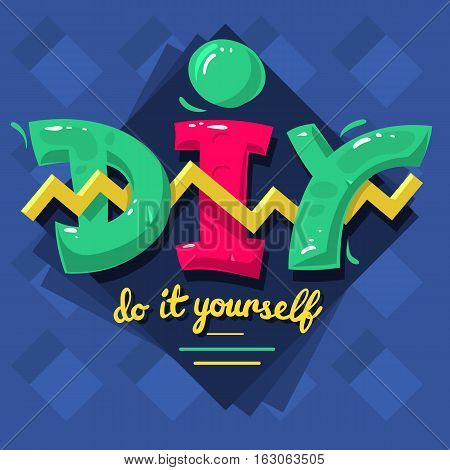 DIY Acronym. Do It Yourself. 90 s Vibrant Colors Aesthetic Type Label Design. Vector Graphic.
