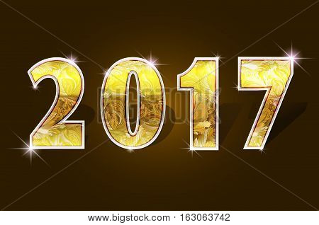 2017 year gold yellow shine design 2017 creative design for greetings card, flyers, invitation, posters, brochure, banners, calendar Vector illustration stock vector.