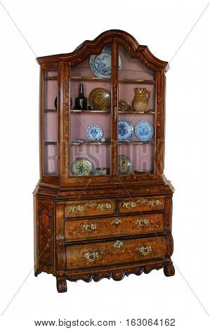 Beautiful old wooden bureau with marquetry on a white background.
