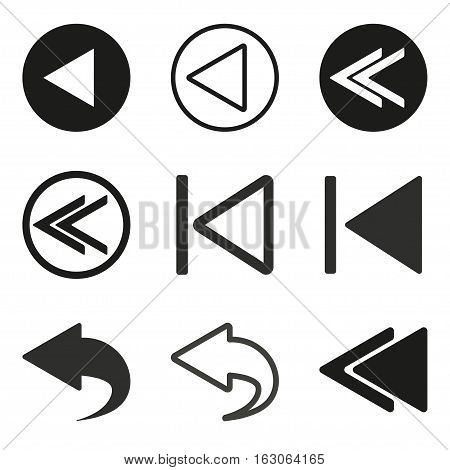 Backward vector icons set. Black illustration isolated on white background for graphic and web design.