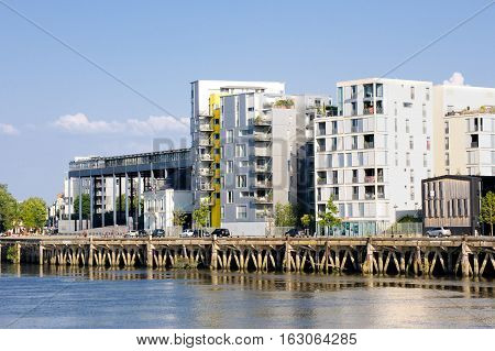 France, Nantes - July 26, 2014: Modern Apartment Building On The Waterfront In The City Of Nantes (f
