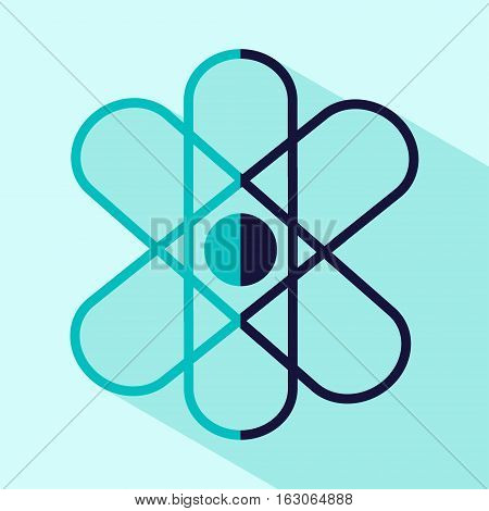 Vector flat stylize atom icon. Isolated colored atom icon for logo web site design button app UI. Blue atom illustration for posters cards book cover flyers banner web game designs.