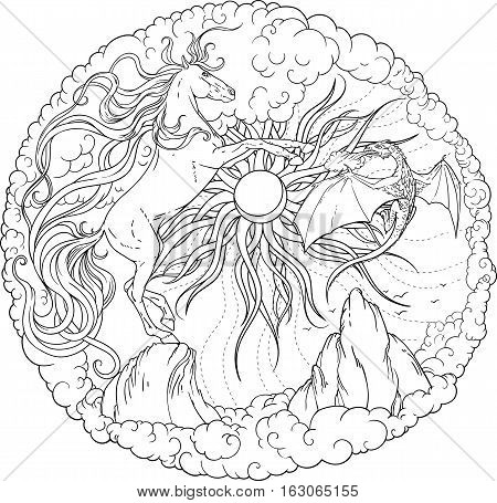 Magic horse, dragon and sun encircled by clouds . Coloring page.