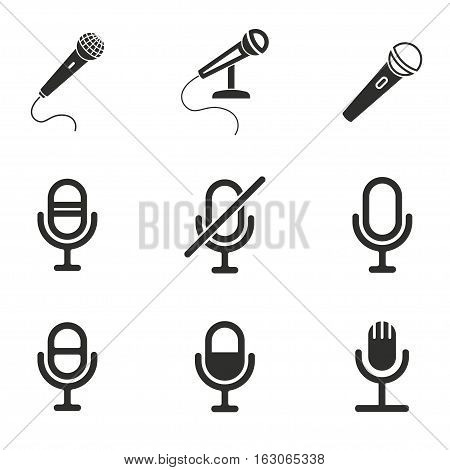 Microphone vector icons set. Black illustration isolated on white background for graphic and web design.