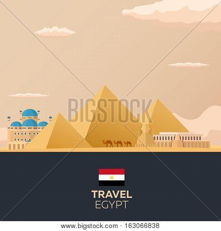 Egypt. Travelling Illustration. Modern Flat Design. Egypt Travel.