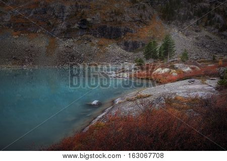 Blue Muddy Mountain Lake WIth Red Color Growth On The Shore, Altai Mountains Highland Nature Autumn Landscape Photo. Beautiful Russian Wilderness Scenery Image.