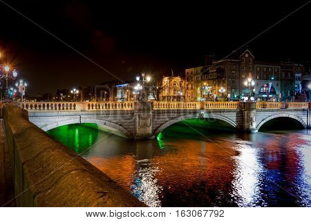 Dublin, Ireland - 26th Dec, 2016: View of Dublin with the O'Connell Bridge