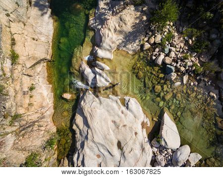 Aerial  View Of Cavu Natural Pool Near Tagliu Rossu And Sainte Lucie In Corsica Island, France