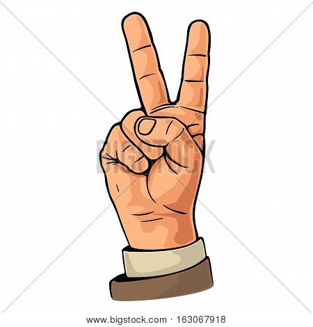 Female hand sign victory sign or peace sign or scissors. Vector color flat illustration isolated on a white background. For web poster info graphic.