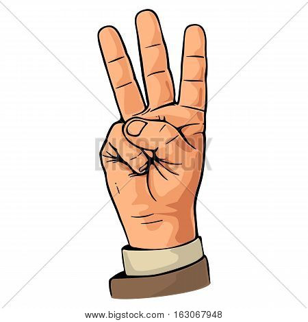 Pointing finger. Number three hand sign. Vector color vintage flat illustration isolated on a white background. Hand sign for web poster info graphic.