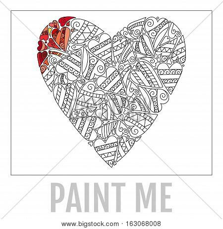 Decorative Love Heart. Vector illustration. Coloring book for adult and older children.