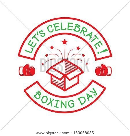 boxing day logo with box for new year holiday