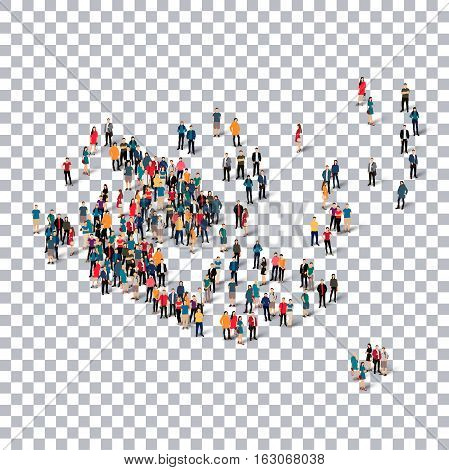 Isometric set of styles, people, map of Aland Islands, country, web infographics concept of crowded space, flat 3d. Crowd point group forming a predetermined shape. Creative people.  illustration. Photo .3D illustration. Transparent background . Isolated.