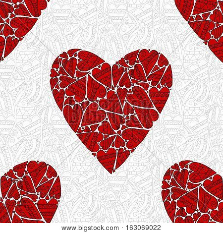 Red heart seamless pattern - Valentine's day vector design. Zendoodle stile background.