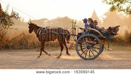 Burmese Man Riding Horse Cart On Dusty Road