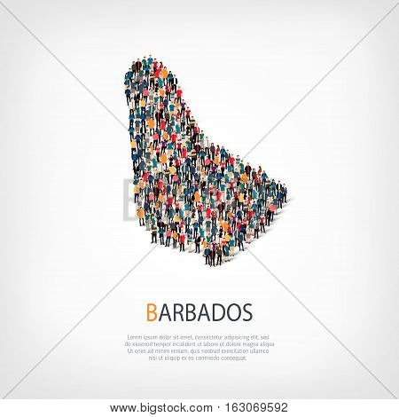 Isometric set of styles, people, map of Barbados , country, web infographics concept of crowded space, flat 3d. Crowd point group forming a predetermined shape. Creative people.  illustration. Photo .3D illustration. White background . Isolated.