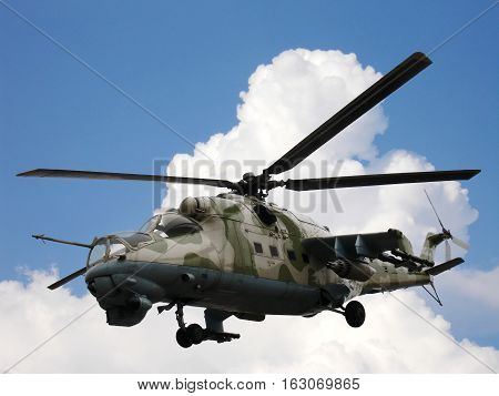 Russian military helicopter Mi-24V (Mi-35) in sky