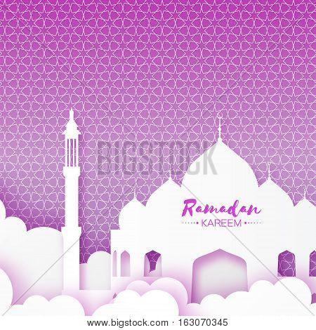 Origami Mosque Window Ramadan Kareem Greeting card with arabic arabesque geometric pattern on purple background. Holy month of muslim. Symbol of Islam. Applique Vector illustration.