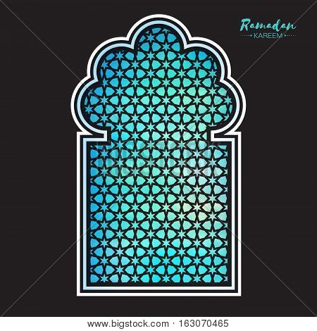 Blue Origami Mosque Window Ramadan Kareem Greeting card with arabic arabesque pattern. Holy month of muslim. Symbol of Islam. Paper craft Vector illustration.
