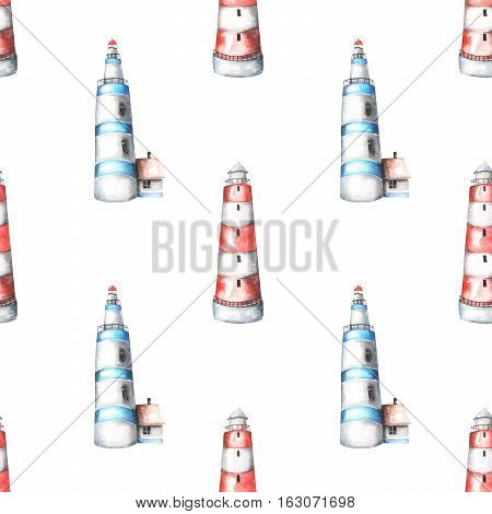 Seamless pattern with watercolor lighthouses, hand painted isolated on a white background