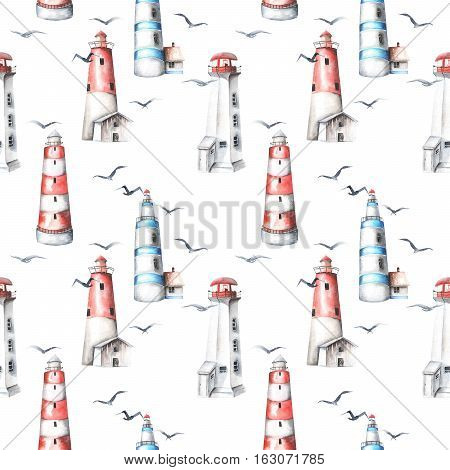 Seamless pattern with watercolor lighthouses and seagulls, hand painted isolated on a white background