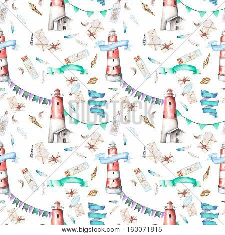 Seamless pattern with watercolor elements to the marine theme: lighthouse, shells, flags, seagulls, letters and others; hand painted on a white background