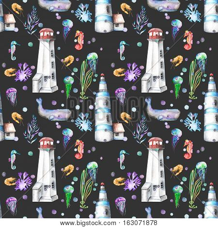 Seamless pattern with watercolor elements to the marine theme: lighthouses, whales, seahorses, jellyfishes and others marine elements; hand painted on a dark background