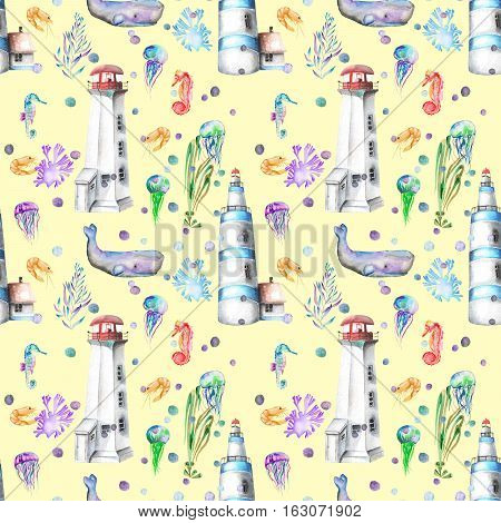 Seamless pattern with watercolor elements to the marine theme: lighthouses, whales, seahorses, jellyfishes and others marine elements; hand painted on a yellow background