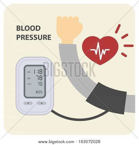 Digital electronic blood pressure monitor and hand