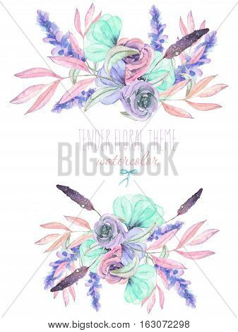 Set with isolated watercolor floral bouquets from tender flowers and leaves in pink, mint and purple pastel shades, hand drawn on a white background