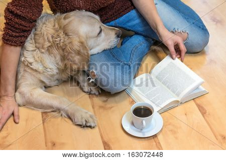 Aerial view of woman sitting down on the floor with Golden retriever dog. Open book and white cup of coffee are lying in front of them. The letters in the book are intentionally blurred.