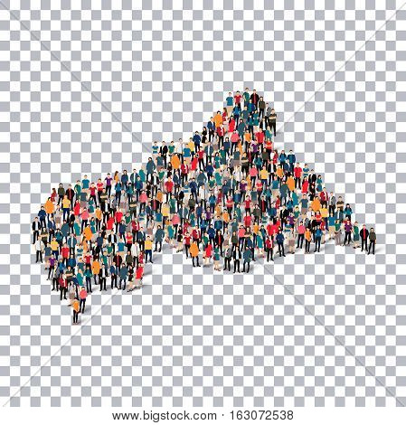 Isometric set of styles, people, map of African Republic, country, web infographics concept of crowded space, flat 3d. Crowd point group forming a predetermined shape. Creative people.  illustration. Photo .3D illustration. Transparent background . Isolat