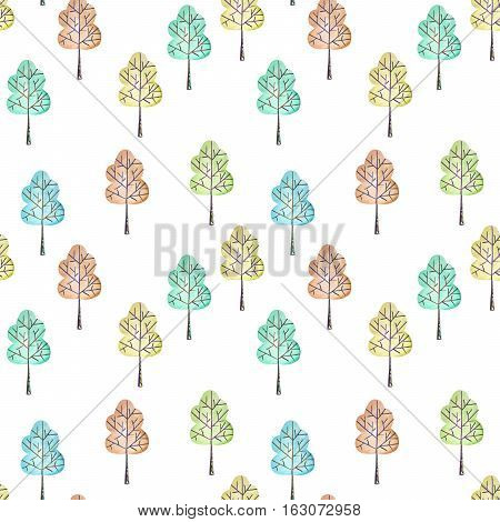 Seamless floral pattern with simple trees, hand drawn in watercolor on a white background