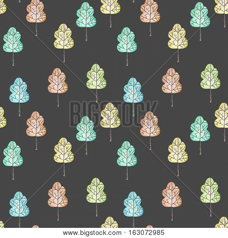 Seamless floral pattern with simple trees, hand drawn in watercolor on a dark background
