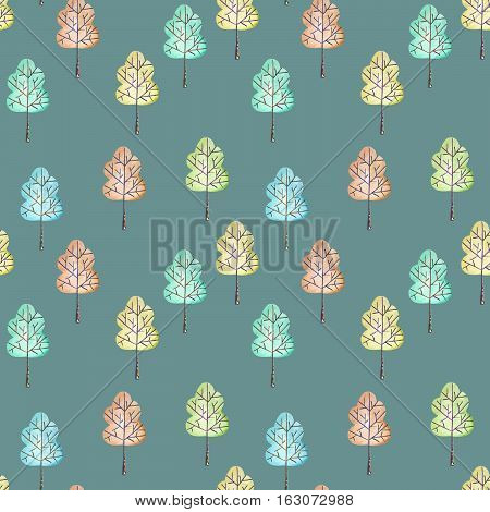 Seamless floral pattern with simple trees, hand drawn in watercolor on a dark blue background
