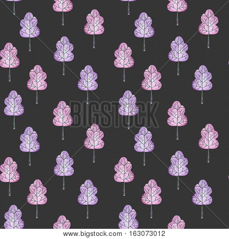 Seamless floral pattern with simple purple trees, hand drawn in watercolor on a dark background