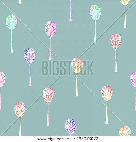 Seamless floral pattern with simple multicolored trees, hand drawn in watercolor on a blue background