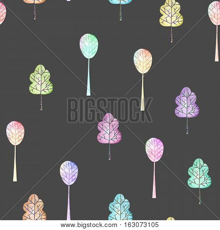 Seamless floral pattern with simple multicolored trees, hand drawn in watercolor on a dark background