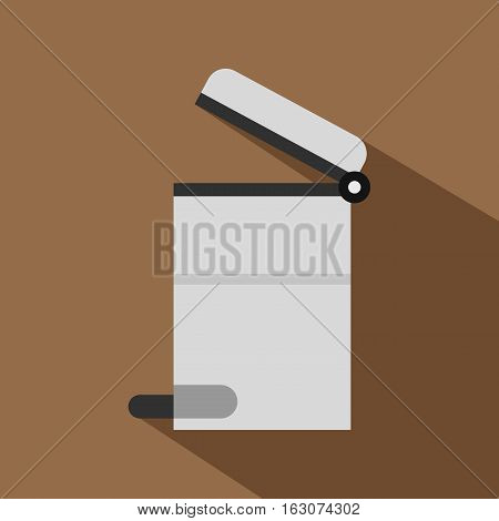 Steel trashcan icon. Flat illustration of steel trashcan vector icon for web