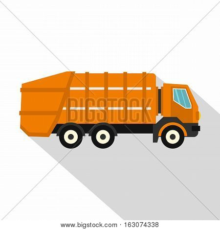 Garbage truck icon. Flat illustration of garbage truck vector icon for web